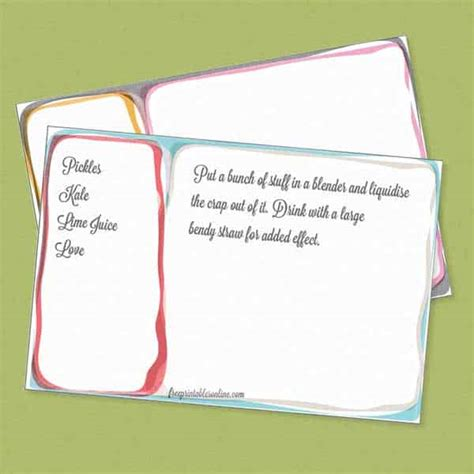 funky inked colourful  printable recipe cards