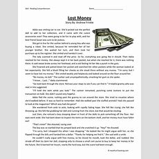 Reading Comprehension Worksheet  Lost Money