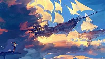Anime Illustration Ship Desktop Fly Laptop 4k
