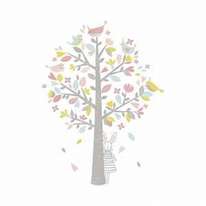 sticker chambre d39enfant arbre oiseaux rose et vert lilipinso With chambre bébé design avec fleurs anniversaire livraison
