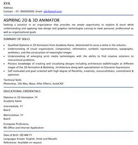 Animator Resume Template by 2d 3d Animator Professional Resume Sles