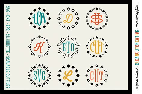 Our free svg cut files are a file type that can be scaled to use with cricut, silhouette and other svg cutting machines. Circle Monogram Star Frames - SVG DXF EPS - for Cricut and ...