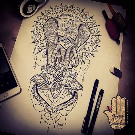 mandala tattoo idea elephant tattoo design idea lotus