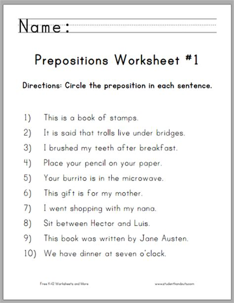 circle the prepositions worksheets free to print pdf