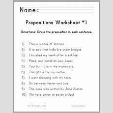 Circle The Prepositions Worksheets  Free To Print (pdf Files) For Grade One