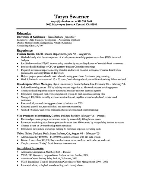 Finance Resume Entry Level Exles by Entry Level Finance Resume Resume Badak
