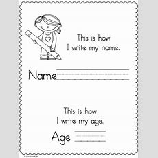 Write My Name And Age Page  Kindergarten Language Arts  School Worksheets, Body Preschool