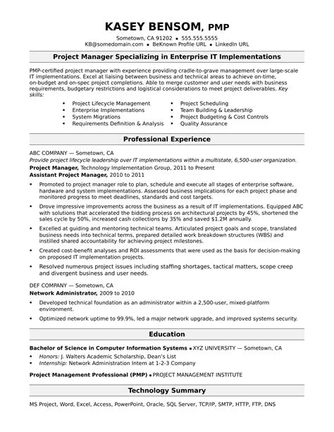 Project Management Resume Sles by Sle Resume For A Midlevel It Project Manager