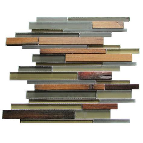 backsplash kitchen lowes ambergris reed 12x12 glass wood mosaic wallandtile 1430