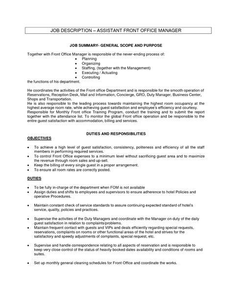 front desk receptionist job description for resume office assistant job description sle recentresumes com