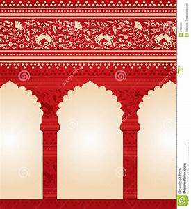 Traditional Red Indian Floral Temple Background Stock ...
