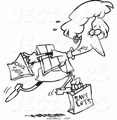 Cartoon Shopping Coloring Bags Carrying Woman Late
