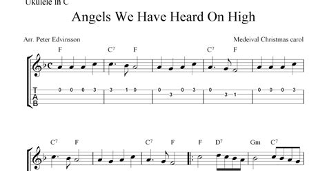 ukulele christmas angels heard tab sheet carol tabs mandolin