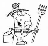Cartoon Farmer Clipart Colorear Hat Straw Granjero Ausmalbild Clip Bauer Coloring Sombrero Paja Farm Colorare Dibujo Dibujos Paglia Cappello Contadino sketch template