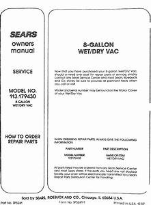 Craftsman 113179430 User Manual 8 Gallon Wet  Dry Vac
