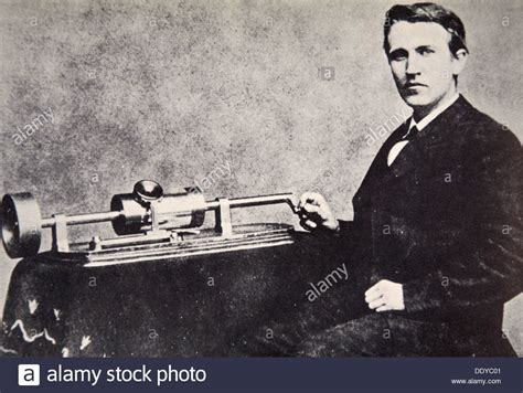 Thomas Alva Edison Sitting Beside His Invention The