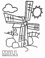 Mill Coloring Pages Print sketch template