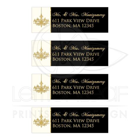 elegant personalized address labels black ivory faux