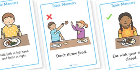 table manners rules display posters  twinkl printable
