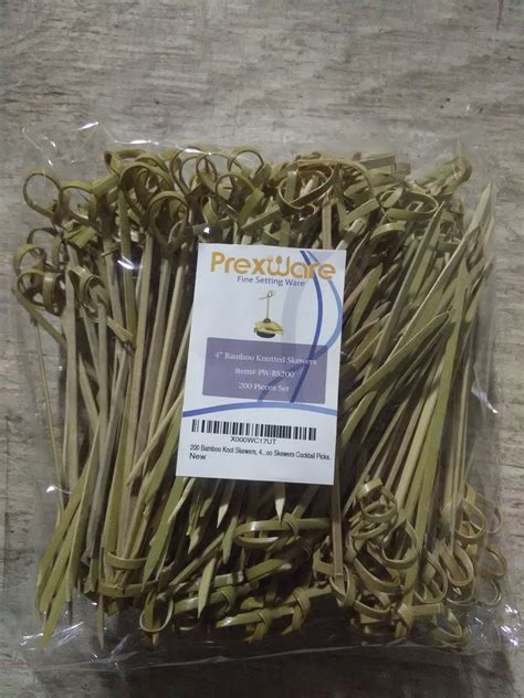 Prexware 200 Bamboo Knot Skewers, 4 Inch Knotted Skewers