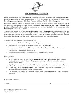 printable  disclosure agreement template forms