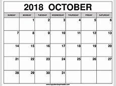 October 2018 Calendar Kannada Templates Editable Download
