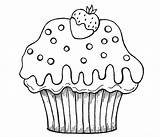 Cupcake Coloring Pages Cute Cake Cupcakes Muffin Cartoon Chocolate Drawing Cup Strawberry Printable Printables Simple Flower Nice Getdrawings Dipped Netart sketch template