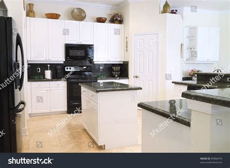 Green Kitchen Cabinets With White Appliances by View Beautiful Modern Kitchen Upscale Appliances Stock