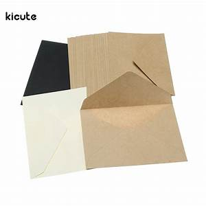 20pcs pack retro brown white black kraft blank mini paper With blank wedding invitation paper and envelopes