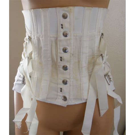 fan laced corset girdle snap front