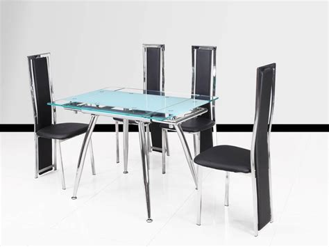 clear glass dining table and 4 chairs small clear and frosted extending glass dining table 4