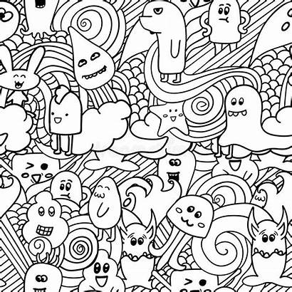 Graffiti Doodle Monsters Funny Backgrounds Pattern Vector