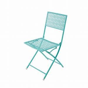 Chaise De Jardin Metal : chaise de jardin pliante en m tal bleu turquoise suzon ~ Dailycaller-alerts.com Idées de Décoration