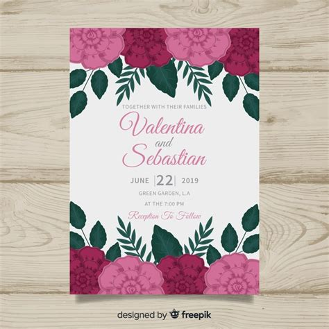 colorful floral wedding invitation template vector