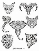 Coloring Pages Dead Sugar Skulls Animal Halloween Sheets Skull Animals Colouring Easy Pepixel Adult Sugarskull Elegant Tattoo sketch template