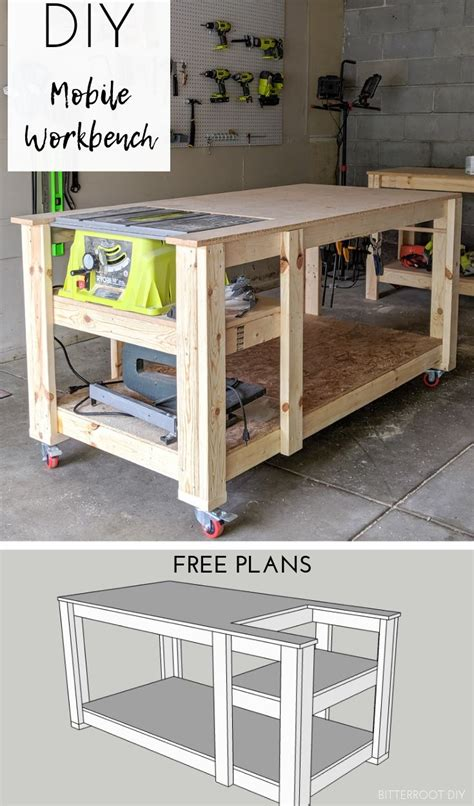 mobile workbench  table  woodworking projects diy