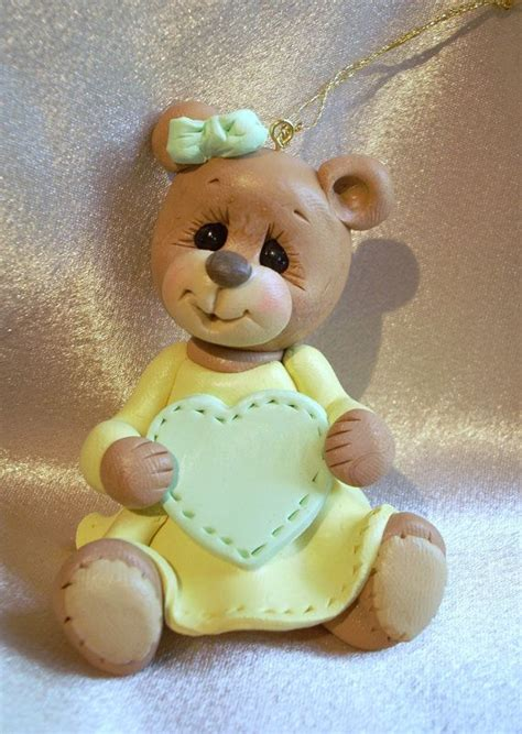 teddy personalized ornament cake topper polymer clay fimo polymer clay