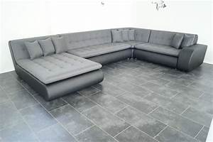 Wohnlandschaft Leder Günstig : neu mega sofa couch wohnlandschaft leder imitat struktur polsterecke xl sofa ~ Frokenaadalensverden.com Haus und Dekorationen