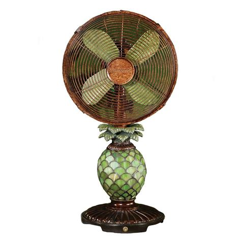 table fans at home depot deco breeze 10 in mosaic glass pineapple table fan