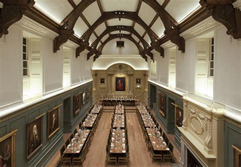 dining hall trinity hall lighting design  hoare lea