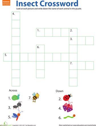 critter crossword bugs worksheets kindergarten and 451   dfbd76fd41e29051551023286e8c9ccb