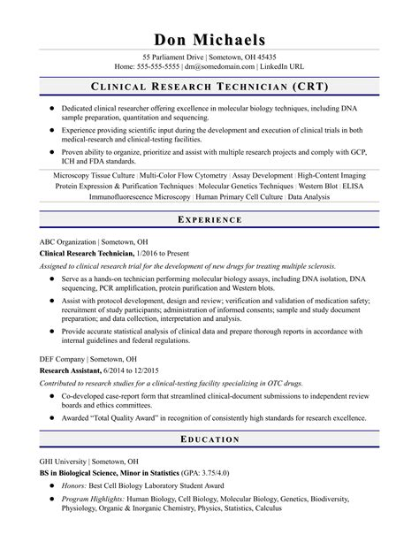 Clinical Assistant Resume by Entry Level Research Technician Resume Sle