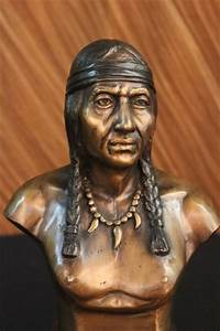 Native American Indian Warrior Chief Bronze Bust Sculpture ...
