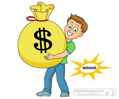 Money Winner Holding Bag Jackpot Clipart Clip