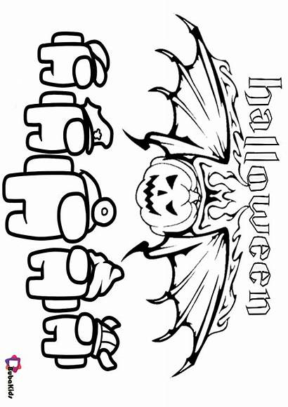 Among Coloring Halloween Pages Bubakids Cartoon