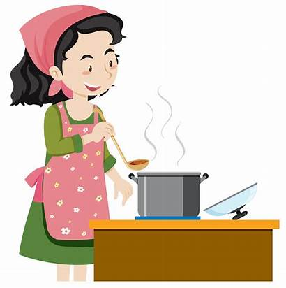 Cooking Mother Soup Vector Illustration Kitchen Clipart