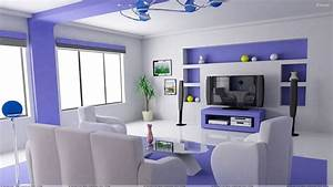 White And Blue Interior in Home Theater Room Wallpaper
