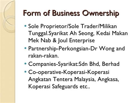Chapter 6 Forms Of Business Ownership