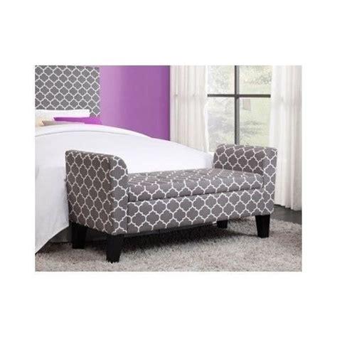 Bedroom Storage Ottoman Bench by Modern Grey Trellis Pattern Storage Ottoman Bench Chair