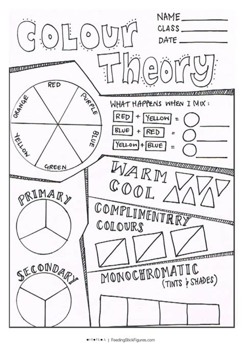 colour theory bundle learning sheets color theory